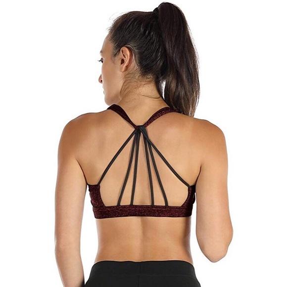 icyzone Other - Icyzone yoga sports bra strappy wine black